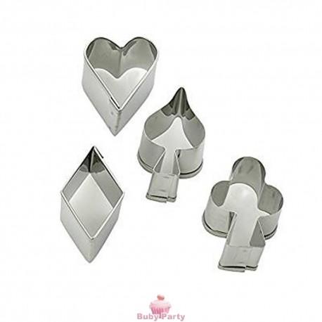 Set 4 Tagliapasta In Metallo Simboli Carte Da Gioco Stadter
