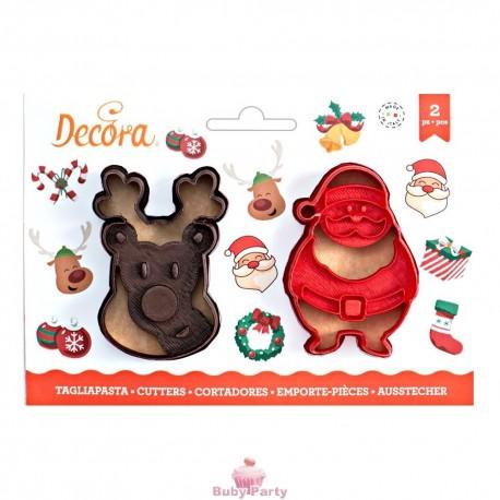 Set 2 Tagliapasta Babbo Natale E Renna Decora