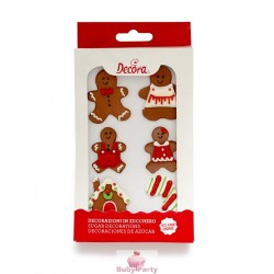 Set 6 Decorazioni In Zucchero Omini Gingerbread Decora