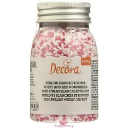 Perline In Zucchero Rosso E Bianco 100g Decora