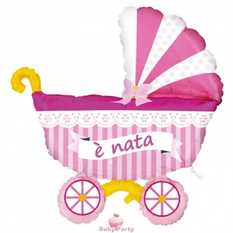 Pallone Nascita Carrozzina Rosa In Mylar Magic Party