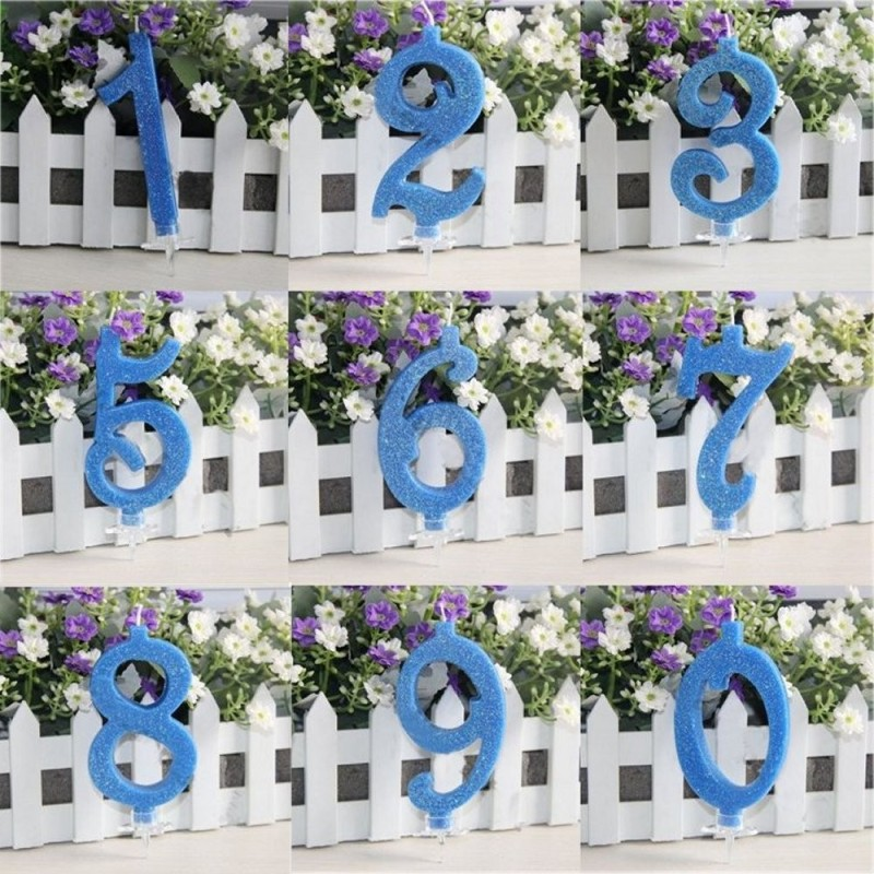 Candela Numerale Piccola In Cera Glitterata Blu