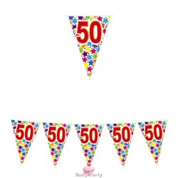 Festone Bandierine 50 Compleanno Stardust 6 mt Big Party