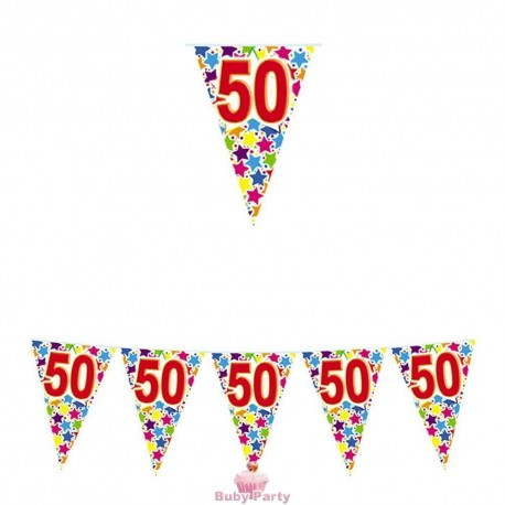 Festone Bandierine 50 Compleanno Stardust 6 mt Big Party