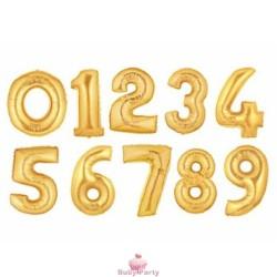 Palloncino Numero Mylar Oro Gonfiaggio Ad Aria 35 Cm