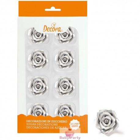 8 Rose Medie Argento In Zucchero Ø 3,5 Cm Decora