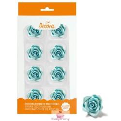 8 Rose Medie Azzurre In Zucchero Ø 3,5 Cm Decora