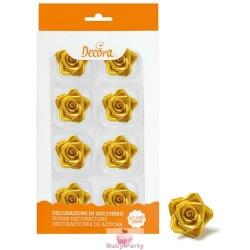 8 Rose Medie Oro In Zucchero Ø 3,5 Cm Decora