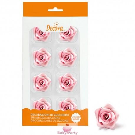 8 Rose Medie Rosa In Zucchero Ø 3,5 Cm Decora
