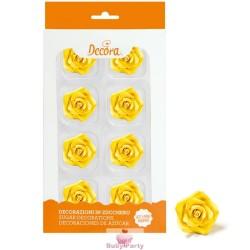 8 Rose Medie Gialla In Zucchero Ø 3,5 Cm Decora