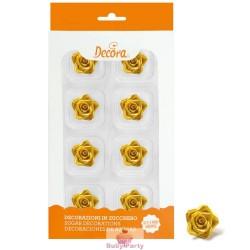 8 Rose Piccole Oro In Zucchero Ø 2 Cm Decora