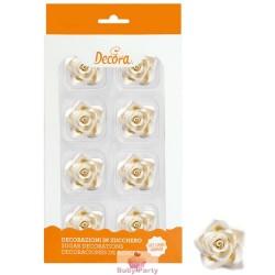 8 Rose Medie Bianca In Zucchero Ø 3,5 Cm Decora