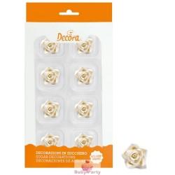 8 Rose Piccola Bianca In Zucchero Ø 2 Cm Decora