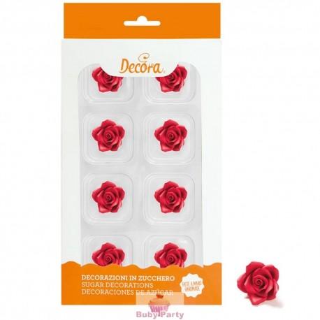 8 Rose Piccole Rosse In Zucchero Ø 2 Cm Decora