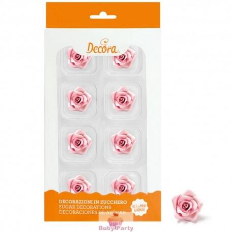 8 Rose Piccole Rosa In Zucchero Ø 2 Cm Decora