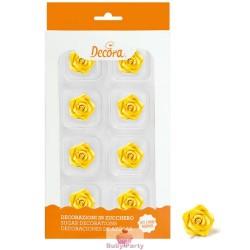 8 Rose Piccole Gialle In Zucchero Ø 2 Cm Decora