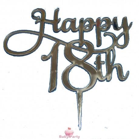 Topper Cake Plecsiglass 18 Compleanno Oro