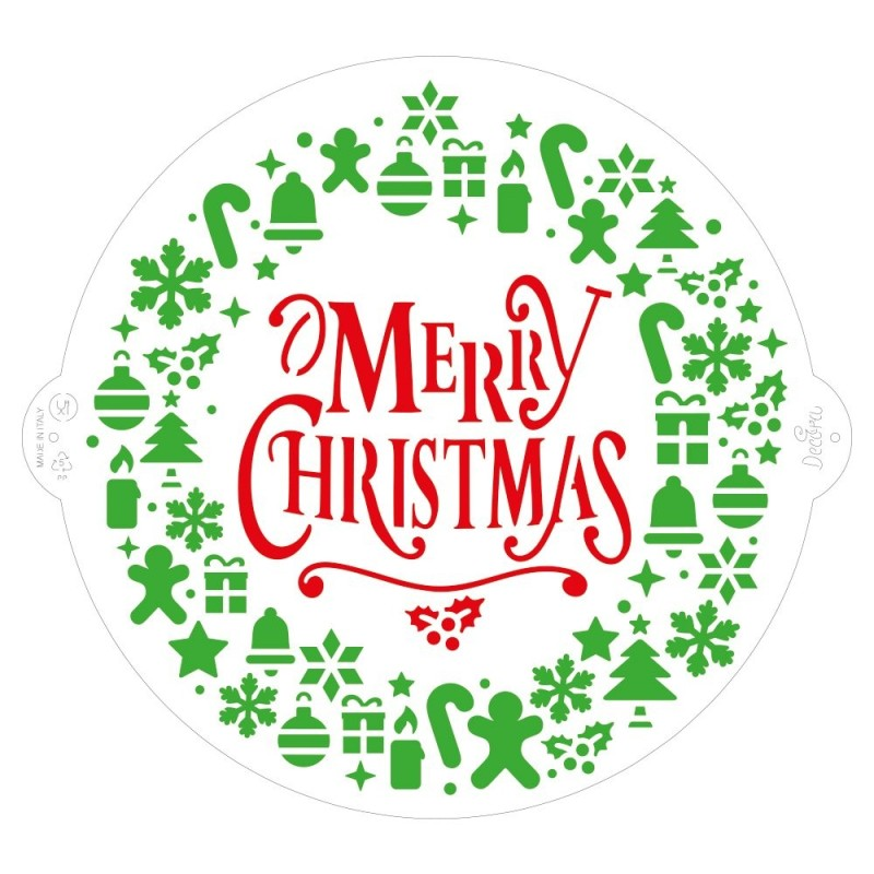 Stencil Merry Christmas Ø 25 Cm Decora