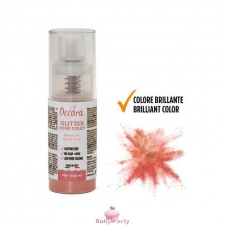 Spray Colorante Pump Glitterato Rosa Gold 10g Decora